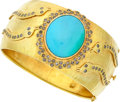 Estate Jewelry:Bracelets, Turquoise, Colored Diamond, Gold Bracelet. ...