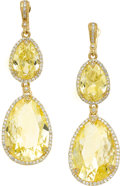 Estate Jewelry:Earrings, Citrine, Diamond, Gold Earrings, Judith Ripka. ...