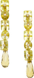 Estate Jewelry:Earrings, Citrine, Diamond, Gold Earrings, Prince Dimitri. ...