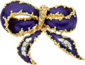 Estate Jewelry:Brooches - Pins, Diamond, Enamel, Gold Brooch. ...