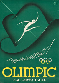 """Olympic Advertising Poster (Cervo, Italy 1937). Poster (27.25"""" X 38.5""""). Sports"""