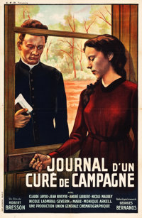 "Diary of a Country Priest (C.F.P., 1951). French Affiche (30"" X 46""). Original Title: Journal d'un Curé..."