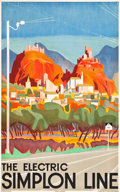 """Movie Posters:Miscellaneous, Switzerland Travel Poster (Swiss Federal Railways, 1929). Poster (25"""" X 40"""") """"Electric Simplon Line."""". ..."""