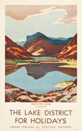"Movie Posters:Miscellaneous, Lake District, England Travel Poster (London, Midland, &Scottish Railway, c.1930). Poster (25"" X 40"") ""The Lake Districtfo..."