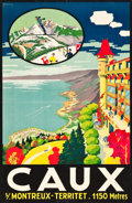 "Movie Posters:Miscellaneous, Caux, Switzerland Travel Poster (Lithos A. Marsens, Lausanne,1921). Poster (25.5"" X 39.5"").. ..."