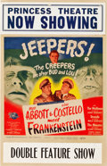 "Movie Posters:Horror, Abbott and Costello Meet Frankenstein (Universal International,1948). Window Card (14"" X 22"").. ..."