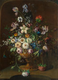 Fine Art - Painting, European:Antique  (Pre 1900), H. BERNINCK (Dutch, 1740-1840). Sumptuous Bouquet of Flowers inan Urn, 1785. Oil on canvas. 52-3/4 x 38 inches (134.0 x...