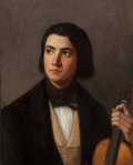 Fine Art - Painting, European:Antique  (Pre 1900), FRENCH SCHOOL (19th Century). Portrait of a Young Violinist. Oil on canvas. 24-1/2 x 19-3/4 inches (62.2 x 50.2 cm). ...