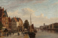 Paintings, JOHN FREDERIK HULK (Dutch, 1855-1913). Dutch Canal Scene. Oil on canvas. 15-3/4 x 23-1/2 inches (40.0 x 59.7 cm). Signed...