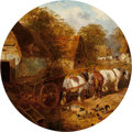 Fine Art - Painting, European:Antique  (Pre 1900), JOHN FREDERICK HERRING, JR. (British, 1815-1907). Farmyard with Pigs, Chickens, and Horses Pulling a Cart . Oil on canva...