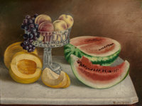 BIRD JONES (American, 1865-1944) Still Life with Fruit, 1893 Oil on board 18-5/8 x 24-3/8 inches