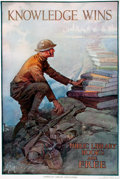 "Books:Prints & Leaves, [World War I]. Dan Smith. Original Lithographic WWI Poster,""Knowledge Wins."" Issued by the American Library Association. De..."