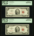 Small Size:Legal Tender Notes, Fr. 1513 $2 1963 Legal Tender Notes. Two Consecutive Examples. PCGS Gem New 65PPQ-Gem New 66PPQ.. ... (Total: 2 notes)