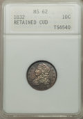 Bust Dimes, 1832 10C JR-3, R.4 -- Retained Cud -- MS62 ANACS....