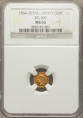 California Fractional Gold: , 1854 50C Liberty Octagonal 50 Cents, BG-305, Low R.4, MS62 NGC. NGCCensus: (12/10). PCGS Population (28/46). ...
