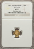 California Fractional Gold: , 1870 50C Liberty Round 50 Cents, BG-1010, R.3, MS65 NGC. NGCCensus: (5/3). PCGS Population (18/4). ...