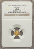 California Fractional Gold : , 1870 25C Liberty Round 25 Cents, BG-835, R.3, MS62 NGC. NGC Census:(16/2). PCGS Population (66/30). ...
