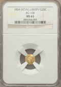 California Fractional Gold: , 1854 25C Liberty Octagonal 25 Cents, BG-108, Low R.4, MS63 NGC. NGCCensus: (13/2). PCGS Population (32/24). ...