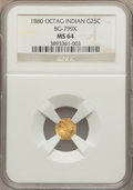 California Fractional Gold: , 1880 25C Indian Octagonal 25 Cents, BG-799X, R.3, MS64 NGC. NGCCensus: (10/11). PCGS Population (69/19). ...