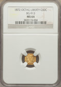 California Fractional Gold: , 1872 50C Liberty Octagonal 50 Cents, BG-913, R.4, MS64 NGC. NGCCensus: (5/7). PCGS Population (20/21). ...