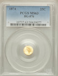 California Fractional Gold: , 1874 25C Indian Round 25 Cents, BG-876, Low R.4, MS63 PCGS. PCGSPopulation (26/51). NGC Census: (5/4). ...