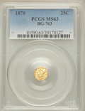 California Fractional Gold: , 1870 25C Liberty Octagonal 25 Cents, BG-763, Low R.4, MS63 PCGS.PCGS Population (17/4). NGC Census: (7/1). ...