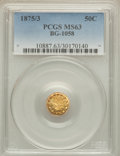 California Fractional Gold: , 1875/3 50C Indian Round 50 Cents, BG-1058, R.3, MS63 PCGS. PCGSPopulation (45/15). NGC Census: (6/0). ...