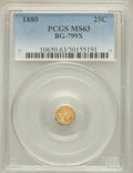 California Fractional Gold: , 1880 25C Indian Octagonal 25 Cents, BG-799X, R.3, MS63 PCGS. PCGSPopulation (57/88). NGC Census: (7/21). ...