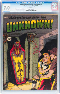 Adventures Into The Unknown #3 (ACG, 1949) CGC FN/VF 7.0 White pages