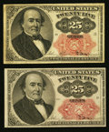 Fractional Currency:Fifth Issue, Fr. 1308 25¢ Fifth Issue Fine. Fr. 1309 25¢ Fifth Issue ChoiceNew.. ... (Total: 2 notes)