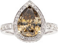 Estate Jewelry:Rings, Fancy Orangy-Brown Diamond, Diamond, White Gold Ring. ...