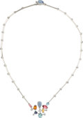 Estate Jewelry:Necklaces, Multi-Stone, Diamond, White Gold Necklace, Cartier. ...