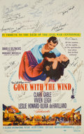 "Movie/TV Memorabilia:Autographs and Signed Items, A Cast Signed 1961 Re-Release Window Card from ""Gone With The Wind.""..."