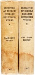 Books:Reference & Bibliography, Carleton Brown. A Register of Middle English Religious &Didactic Verse. Oxford: Printed for The Bibliographical Soc...(Total: 2 Items)