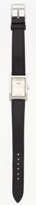 "Luxury Accessories:Accessories, Hermes Stainless Steel Tandem Watch with Black Calf Box Leather Strap. Good to Very Good Condition. .75"" Width x 6.5"" ..."