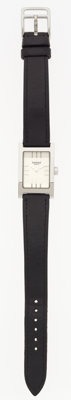 Hermes Stainless Steel Tandem Watch with Black Calf Box Leather Strap Good to Very Good Condition