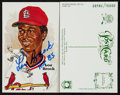 Baseball Collectibles:Others, Lou Brock Signed Perez Steele Postcards Lot of 50. ...