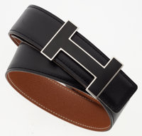 Hermes 85cm Black Calf Box & Gold Epsom Leather Reversible H Belt with Black Enamel and Palladium Hardware Very