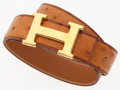 "Luxury Accessories:Accessories, Hermes 80cm Cognac Ostrich H Belt with Gold Hardware. Good to Very Good Condition. 1.5"" Width x 31.5"" Length. ..."
