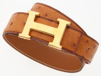 "Hermes 80cm Cognac Ostrich H Belt with Gold Hardware Good to Very Good Condition 1.5"" Width x 31.5"" Length&..."