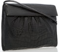 "Luxury Accessories:Accessories, Gucci Black Crocodile Shoulder Bag. Good to Very Good Condition. 10.75"" Width x 8.5"" Height x 3"" Depth, 19"" Shoulder Dro..."
