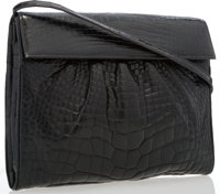 """Gucci Black Crocodile Shoulder Bag Good to Very Good Condition 10.75"""" Width x 8.5"""" Height x 3"""" Depth"""