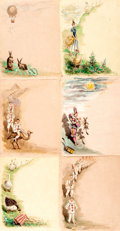 Books:Art & Architecture, [Children's]. [Original Art]. Artist Unknown. Six Pages of Hand-Illustrated Children's Stationary. [N.p., n.d., circa 1850]....