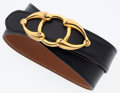 "Luxury Accessories:Accessories, Hermes Black Calf Box & Gold Courchevel Leather Belt with Gold Circle Buckle. Good to Very Good Condition. 1"" Width x ..."
