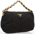 "Luxury Accessories:Accessories, Prada Black Chevron Quilted Tessuto Bag with Gold Chain. Good toVery Good Condition. 11.5"" Length x 7.5"" Height x 4"" ..."