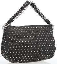 Prada Black Leather Shoulder Bag with Silver Stud Accents Very Good to Excellent Condition 12""
