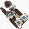 """Luxury Accessories:Accessories, Brown Leather Belt with Silver & Turquoise Hardware. GoodCondition. 1"""" Width x 46"""" Length. ..."""