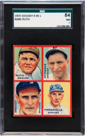 Baseball Cards:Singles (1930-1939), 1935 Goudey 4-In-1 Ruth/Maranville/Brandt/McManus #5A SGC 84 NM7....