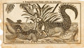 Books:Americana & American History, [Almanac]. [Davy Crockett]. Two Leaves with Woodcut from DavyCrockett's Almanack, Vol. I, No. 3 1837. Nashville...