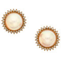 Estate Jewelry:Earrings, Mabe' Pearl, Diamond, Gold Earrings. ...